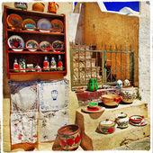 śródziemnomorskiej ulice - santorini — Zdjęcie stockowe