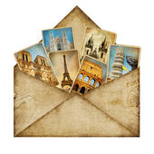 Vintage envelope with travel cards — Stock Photo