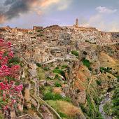 View of ancient Matera, cave city. Balsilicata, Italy — Stock Photo