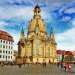 Church Frauenkirche in Dresden Germany on a sunny day with blue — Stock Photo #35808909