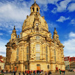 Church Frauenkirche in Dresden Germany on a sunny day with blue — Stock Photo #35809561