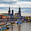 Historic city center of Dresden and Elbe river in Saxony, Germany — Stock Photo