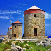 Rhodes windmills. Greece — Stock Photo