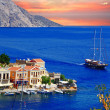 Sailing in Greek islands. Symi. Dodecanes — Stock Photo