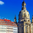 Church Frauenkirche in Dresden Germany on a sunny day with blue — Stock Photo
