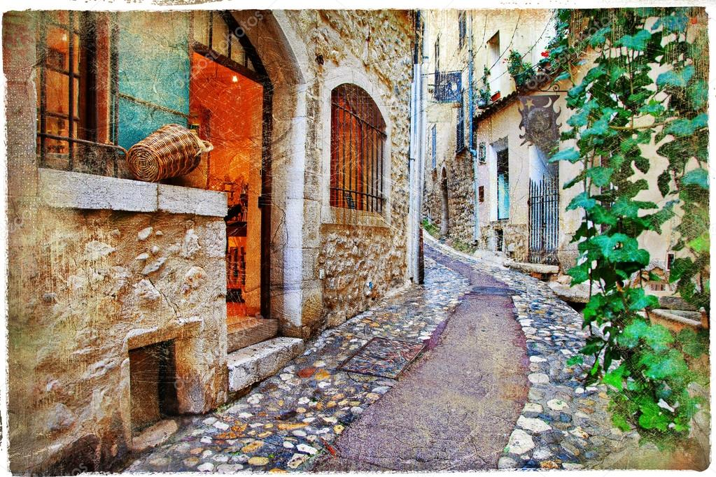 Old charming streets of Provance villages, France — Stock Photo © Maugli #361...