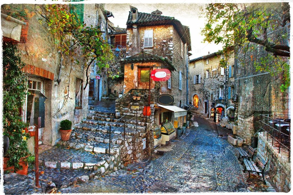 charming villages of france provinces stock photo