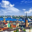 Scenic panorama of the Old Town (Gamla Stan) in Stockholm, Swed — Stock Photo