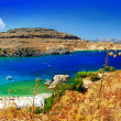 Stunning beaches of Greek islands - Rhodes, Lindos bay — Stock Photo