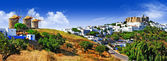 Panorama of scenic Patmos island. view of Chora and windmills , — Stock Photo