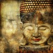 Stylish oriental background with buddha face — Stock Photo