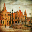 Seville, plaza Espana on sunset, — Stock Photo