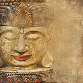 Oriental background with buddha face — Stock Photo