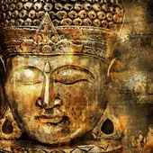 Artistic background in oriental style with buddha head — Foto Stock