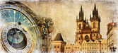 Old Prague - artistic vintage card — 图库照片