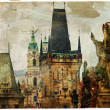 Prague, Charles bridge, picture in painting style — Stock Photo #38869947