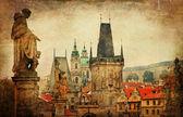 Прага, Карлов мост, картина в стиле ретро — Стоковое фото