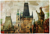 Prague, Charles bridge, picture in painting style — Stock Photo