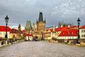 Old Prague, famouse Charles bridge — Stock Photo