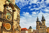 Prague, Czech Republic - view of square and astronomical clock — Stock Photo
