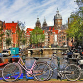 Amsterdam, canals and bikes — Stock Photo