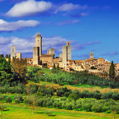 Beautiful Italy series, view of  San Gimignano - medieval town o — Stock Photo
