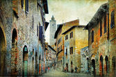 Medieval Tuscany. Streets of San Gimignano — Stock Photo