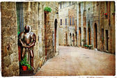 Medieval Tuscany. Streets of San Gimignano, artistic vintage pic — 图库照片