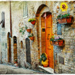 Stock Photo: Charming old streets of medieval towns of Tuscany
