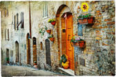 Charming old streets of medieval towns of Tuscany — Stock Photo