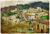 Pictorial villages of Italy, Umbria. artwork in painting style — Stock Photo