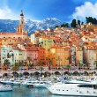Beautiful Menton - colorful port town, border France- Italy — Stock Photo