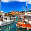 Menton - colorful port town, view with boats — Stock Photo