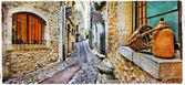 Charming streets of mediterranean old villages, artwork in paint — ストック写真