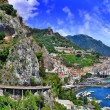 Scenic Amalfi coast, view with cave and serpantine road — Stock Photo
