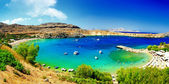 Azure bay -Rhodes islan — Stock Photo