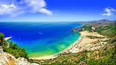 Malownicze plaże greckiego - zatoki tsambica, panorama — Zdjęcie stockowe