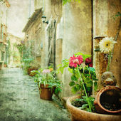 Charming courtyards, retro styled picture — Stock Photo