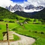 Постер, плакат: Val di Funes beautiful Alpine valley in Dolomites mountains no