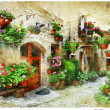 Floral streets of Spello, Umbria, Italy. artistic picture — Stock Photo #48205269