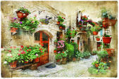 Floral streets of Spello, Umbria, Italy. artistic picture — Stock Photo