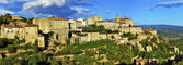 Panorama of Gordes medieval village on sunset , Provance. France — Stock Photo