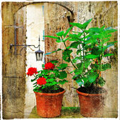 Old charming streets of medieval towns ,Italy. artistic picture — Stock Photo