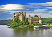 Beautiful fairy castle in lake - Chateau de Val, France — Stock Photo