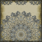 Ornamental pattern on vintage background. Greeting card — Stock Vector