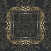 Vintage gold picture frame on damask seamless wallpaper — Stock Vector