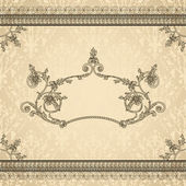 Vintage ornamental frame on damask background, luxury design — Stock Vector