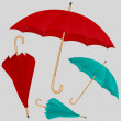Set of vector colorful umbrellas — Stock Vector