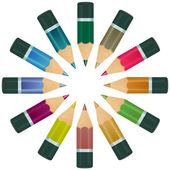 Set of multicolor pencils on white background. Vector illustrati — Stock Vector