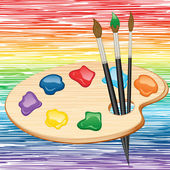 Wooden palette and brushes on rainbow background. Vector illustr — Stock Vector